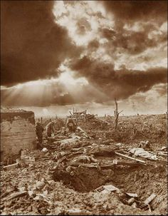 The dawn of Passchendaele, Pictures of the Great War by Frank Hurley. a great Canadian battle for No Mans Land WWl. World War One, First World, Hurley, Battle Of Passchendaele, Flanders Field, No Mans Land, Military History, Historical Photos, Warfare