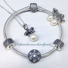 Pandora bracelet, earrings and ring
