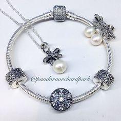 Pandora bracelet, earrings and ring