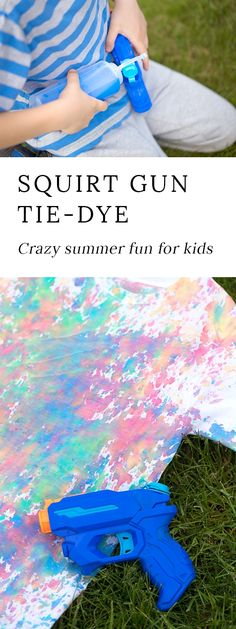 Get ready for some crazy summer fun! Kids of all ages will enjoy using squirt guns to create bold, tie-dyed t-shirts. via @https://www.pinterest.com/fireflymudpie/