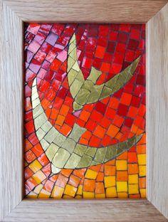 Mosaic art inspired by nature and myth Mosaic Animals, Mosaic Birds, Mosaic Art, Mosaic Designs, Mosaic Ideas, Tile Ideas, Rock Tile, Mosaic Stepping Stones, Religious Art