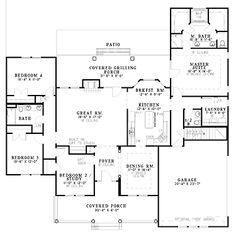Extraordinary Four-Bedroom (HWBDO55566)   Country House Plan from BuilderHousePlans.com