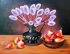 Ana María Díaz Bodegón Cardos y peras óleo sobre tela de 60 x 40 cms ORIGINAL a partir de foto.
