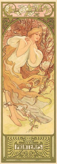 'Printemps' (Spring) from The Four Seasons series. (circa 1905) - Alphonse Mucha (1860-1939)