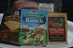 """""""3 Packet Pot Roast"""" in your crockpot:  3 packets of spice & dressing mixes + 1 cup water + 3-4 pound chuck roast.  Add veggies as desired"""