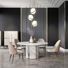Luxury Italian Designer Contemporary Round Marble Dining Table Set - Dining Set - Ideas of Dining Set