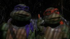 Don and Mikey - Teenage Mutant Ninja Turtles Ninja Turtles Movie, Teenage Mutant Ninja Turtles, Turtle Movie, Tortue Ninja Donatello, Pizza Dude, Mini Turtles, Michael Bay, Childhood Tv Shows, Kids Tv