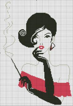 point de croix femme fumant - cross-stitch woman smoking