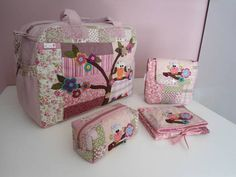 Pink e Rosa Baby E, Big Bags, Handmade Bags, Clutch Bag, Diaper Bag, Embroidery Designs, Sewing Projects, Patches, Quilts
