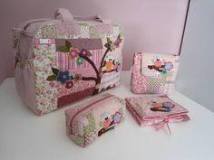 Kit Mala G - 237 (coruja rosa)   Tia Nanne - Bolsas em tecidos e Acessórios   2B1370 - Elo7