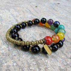 Onyx Chakra Bracelet - Onyx and Genuine Chakra Gemstones Wrap Bracelet
