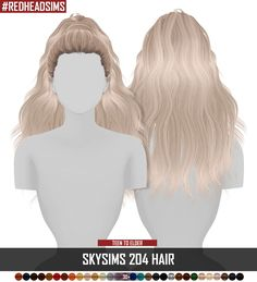 Coupure Electrique: Skysims 204 hair retextured • Sims 4 Hairs