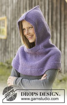 Knitted hooded cowl in DROPS Nepal. Piece is knitted top down in garter stitch. … Knitted hooded cowl in DROPS Nepal. Piece is knitted top down in garter stitch. Size: S – XXXL Maid Marian, Knitting Designs, Knitting Patterns Free, Free Knitting, Crochet Patterns, Free Pattern, Drops Design, Knit Cowl, Knit Crochet