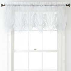 Home Expressions Lisette Sheer Macramé Tuck Valance - JCPenney Diy Curtains, Curtains With Blinds, Bathroom Curtains, Kitchen Curtains, White Valance, Sheer Valances, Balloon Shades, Waterfall Valance