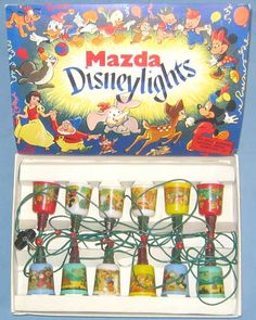 Mazda Disney lights and plastic covers with Disney decals on them. Fits over the bulbs. Christmas Tree Light Bulbs, Vintage Christmas Lights, Christmas String Lights, Whimsical Christmas, Antique Christmas, Christmas Past, Disney Christmas, Retro Christmas, Christmas Themes