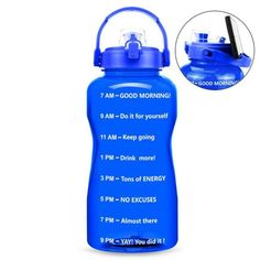 Motivational Solid Color Water Bottle - 3.8L / Blue