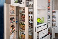 And you were worried a small kitchen didn't have storage? 16 Highly Functional Space Saving Ideas For Your Tiny Home homesthetics small kitchen furniture Kitchen Pantry Design, Smart Kitchen, Kitchen Storage, Pantry Storage, Kitchen Ideas, Pantry Ideas, Organized Kitchen, Hidden Storage, Awesome Kitchen