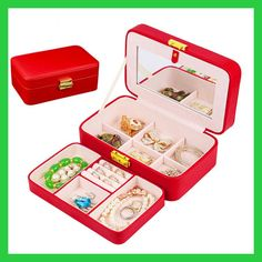 Makeup Jewelry Storage Box,European Princess Korean Jewelry Boxes Mirror Lock Box Gift,6 Option Color,organizador de maquillaje