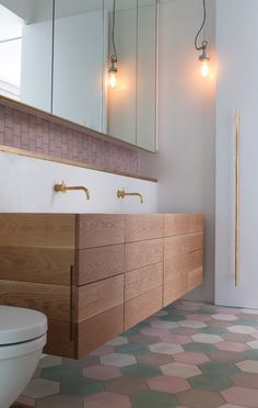 PohioAdams Architects - Double Bay House - those tiles, timber joinery, pendant light, brass hardware...so nice seeing something a bit different. As seen in Home mag.