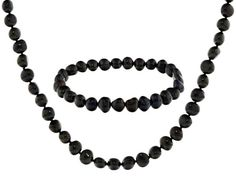 7-8mm Black Cultured Freshwater Pearl Necklace And Stretch Bracelet Je
