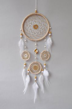 Beige Dream Catcher - Large Tan Dreamcatcher - Boho Wall Hanging - Wedding Decor Christmas Gift for Daughter - The Effective Pictures We Offer You About diy furniture A quality picture can tell you many things - Grand Dream Catcher, Dream Catcher Decor, Beautiful Dream Catchers, Feather Dream Catcher, Large Dream Catcher, Dream Catcher Boho, Old Wine Bottles, Recycled Wine Bottles, Dream Catcher Patterns