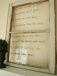 dry erase marker on old window. Smart!