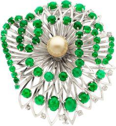 418f2060df0 Emerald, Cultured Pearl, Diamond, White Gold Brooch, Boucheron, Paris. Gold