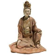 Rare Chinese Seated Figure of Guanyin. This subject matter always seems to reflect the apex of Chinese carving. Always more delicate and sensitive compared to most other religous art