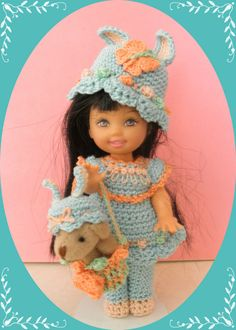 """Crochet Doll Clothes Easter Butterfly Rose Outfit for 4 ½"""" Kelly & same sized do"""