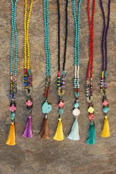 Gypsy Bohemian Tassel Necklace. Boho Hippie Love Beads. Cali Surf, Festival Style. Extra Long Beaded Strand with Silk Tassel. Unique Boho Layer