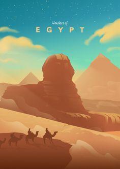 Wonders of Egypt Vintage Posters Poster Print Egypt Design, Egypt Art, Egypt Travel, Poster Prints, Art Prints, Landscape Illustration, Vintage Travel Posters, Luxor, Illustrations Posters