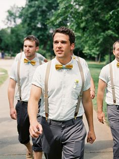 Southern-weddings-Southern-wedding-ideas-wedding-suspenders-yellow-bow-tie-wedding-Susan-Dean