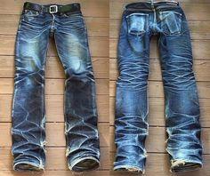 "Reposting @robindenim: ... ""Heavily faded pair of The Strike Gold TSG2105 @weftside66"" Denim jeans selvedge fades indigo pant workwear menswear"