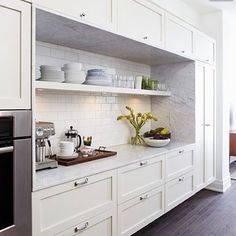 "152 Likes, 3 Comments - Nicole (@eyeforpretty) on Instagram: ""One of my favorite kitchen ideas...wrap marble around the entire interior of the cabinets for one…"""