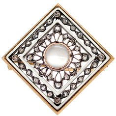 FABERGÉ Diamond Enamel Moonstone Square Brooch | From a unique collection of vintage brooches at https://www.1stdibs.com/jewelry/brooches/brooches/