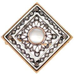FABERGÉ Diamond Enamel Moonstone Square Brooch, Circa 1900