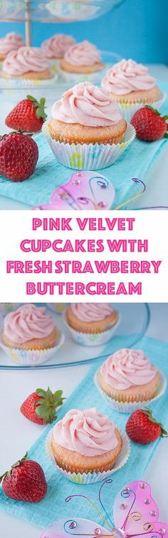 These moist and buttery vanilla cupcakes are soft pink in color and topped with a strawberry reduction buttercream. I made them for my best friend's baby shower and they were a hit! Strawberry Buttercream, Strawberry Cupcakes, Vanilla Cupcakes, Yummy Cupcakes, Delish Cakes, Strawberry Desserts, Buttercream Frosting, Cupcake Recipes, Cupcake Cakes