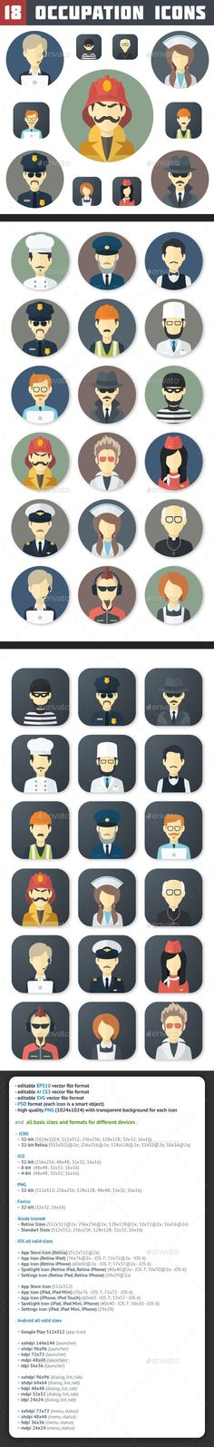 Flat Occupation Icons Set — Photoshop PSD #people #pilot • Available here → https://graphicriver.net/item/flat-occupation-icons-set/6870634?ref=pxcr