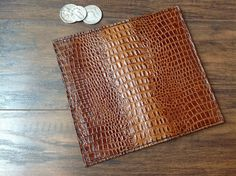 Leather Long Wallet Checkbook wallet by ThreeCreationLeather
