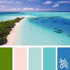 Warm summer colors inspired by this beach scene - green trees, white sand and blue waves   Click for more color combinations inspired by beautiful landscapes and other coloring inspiration at http://sarahrenaeclark.com   Colour palettes, colour schemes, color therapy, mood board, color hue