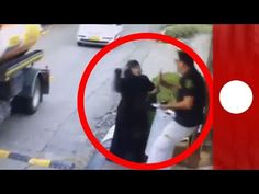 CCTV: Moment Palestinian woman attempts to stab Israeli security guard - YouTube