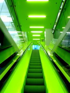 Seattle Central Library--An illuminated escalator is used to get patrons where they need to go. This truly is one of the most unique buildings in America.