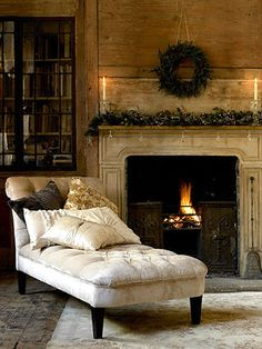 Warm and inviting chaise next to the fireplace. I've always wanted a chaise lounge. Boho Home, My Dream Home, Beautiful Homes, House Beautiful, Beautiful Things, Living Spaces, Living Rooms, Sweet Home, Relax