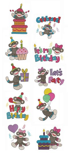 Happy Birthday Sock Monkeys Filled embroidery design set available for instant download at www.designsbyjuju.com