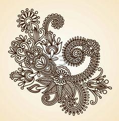 Stock Vector Illustration: Hand-Drawn Abstract Henna Mendie Flowers Doodle Vector Illustration Design Element  Illustration