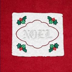 Free Embroidery Design: Noel Holiday Mug Rug