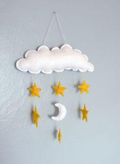Felt Cloud, Moon and Stars Mobile