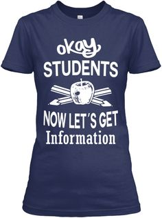 Okey Students Now Let's Get Information Navy T-Shirt Front