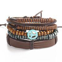 2016 Boho Rock Multi-Layered Leather Bracelets Women's Bracelets Retro Women's Braided Handmade Wooden Grain Bracelet Charm Bracelets Women's F6059