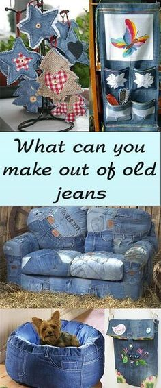Jeans recycled / upcycled into bags, furniture, decorations